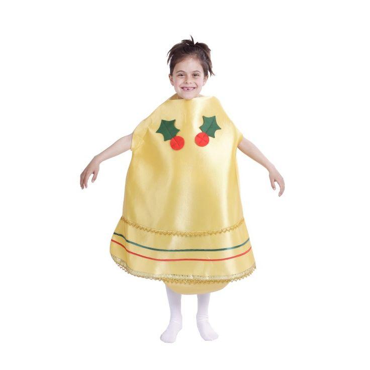 disfraz de campana navidea dorada infantil