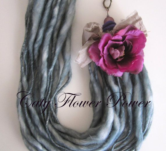 Wool Necklace Felted Statement Necklace Rustic by catyflowerpower