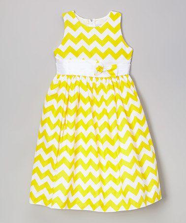 Loving this Yellow & White Chevron Dress - Toddler & Girls on #zulily! #zulilyfinds
