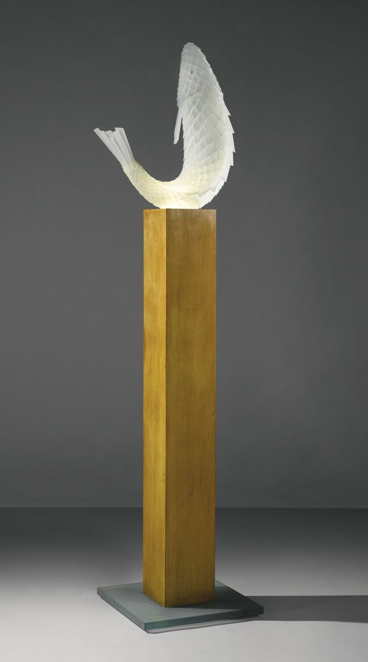 """FRANK GEHRY A RARE """"FISH"""" LAMP from an edition of four glass and silicone, with the original oak and glass base 77 5/8  x 19 3/4  x 17 1/2  in. (197.2 x 50.2 x 44.5 cm) with base 1990 produced by New City Editions, Venice, CA"""