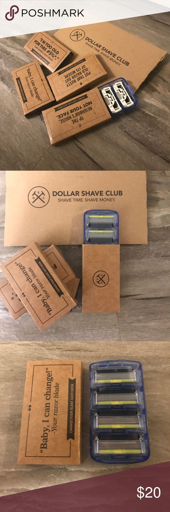 Dollar Shave Club Razor Fills Dollar Shave Club Razor Fills. Brand newly packed in boxes of 4 razor heads. $20 for all four boxes. dollar shave club Other