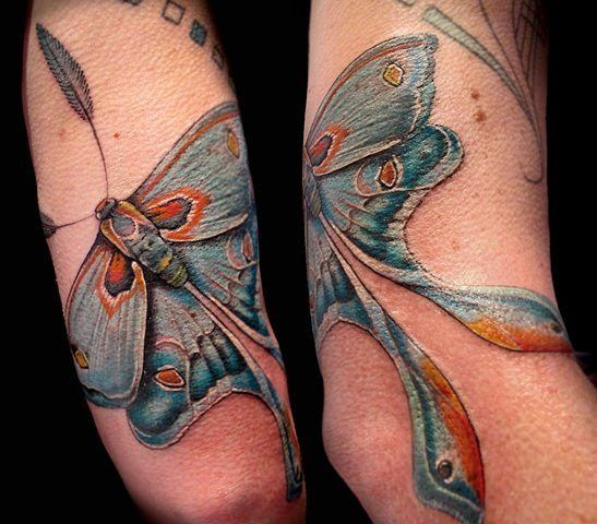 This blue luna moth by Esther Garcia is a beautiful symbol of femininity, beauty and nature « « Ratta Tattoo