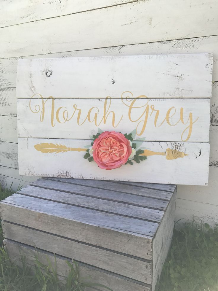 A personal favorite from my Etsy shop https://www.etsy.com/listing/488258477/rustic-large-nursery-baby-name-arrow-and