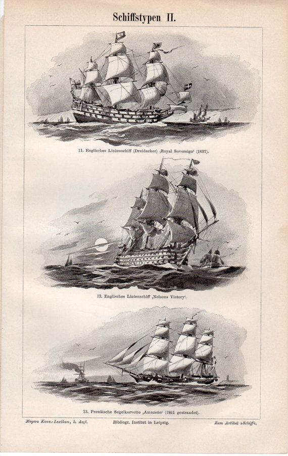 1897 Old Boats and Ships Antique Print Egyptian by Craftissimo, €12.95