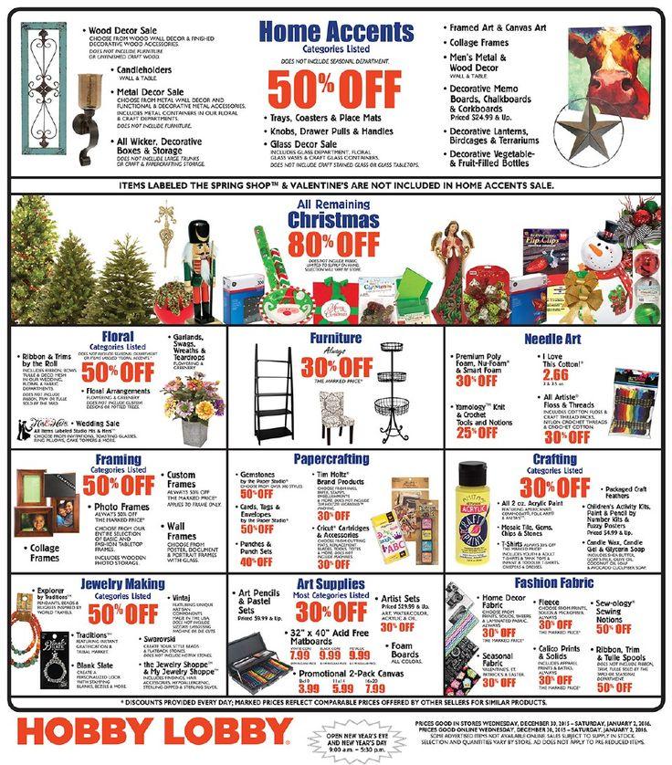 Hobby Lobby Weekly Ad December 30 - January 2, 2016 - http://www.olcatalog.com/grocery/hobby-lobby-weekly-ad.html