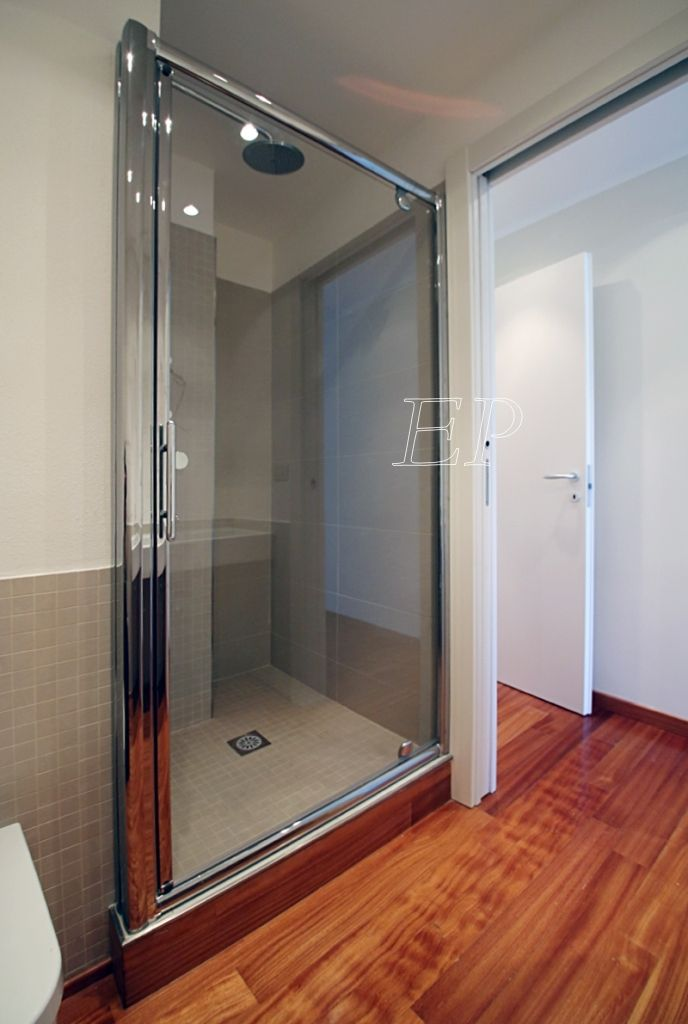 large crystal walk-in shower in the bathroom