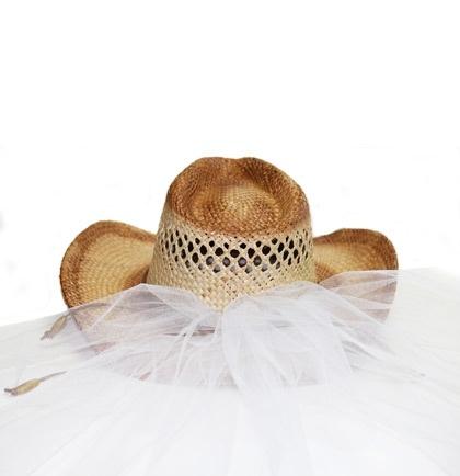 Vintage-Look Western Bride Hat  - for a Bachelorette Party or Bridal Shower