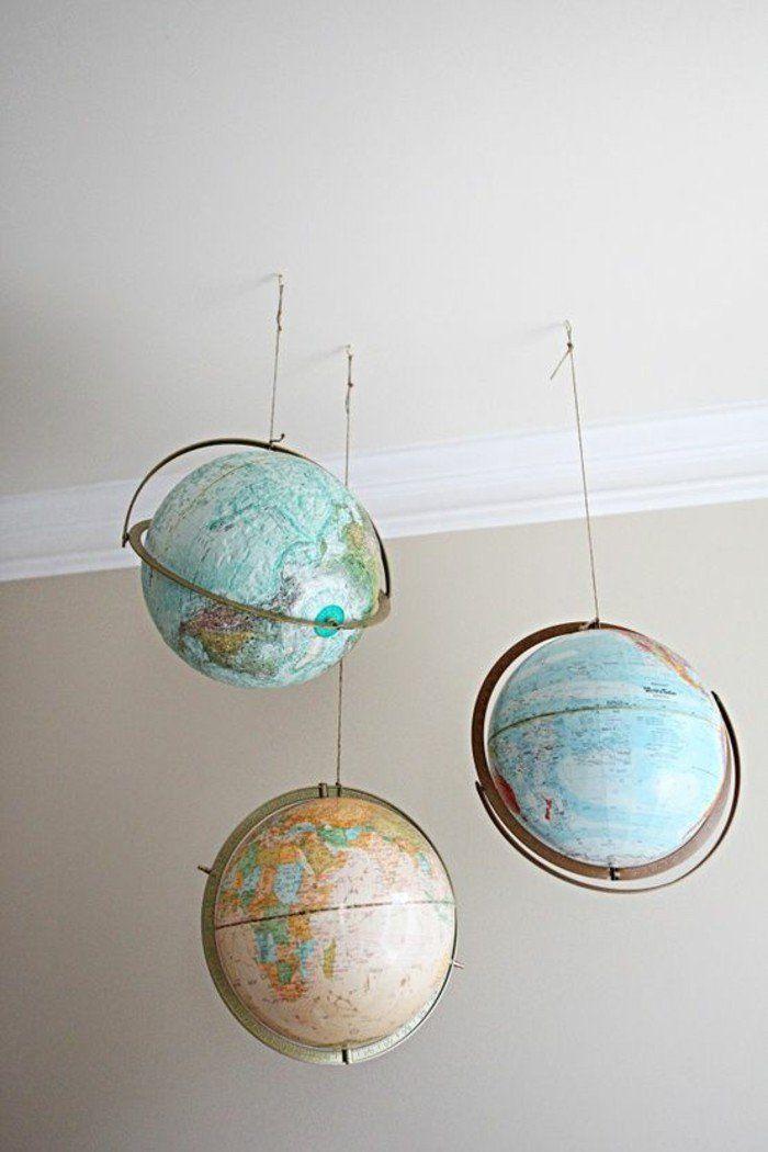 wohnideen wohnzimmer hängende globen vintage dekoideen