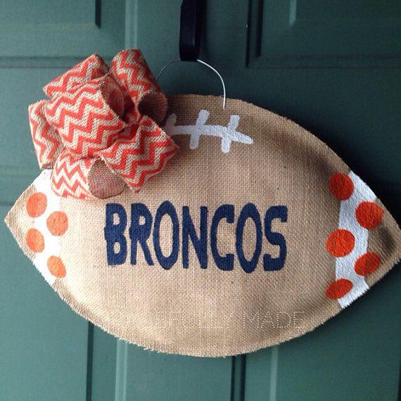MADE TO ORDER - Denver Broncos Burlap Football Door Hanger - Denver Broncos Wreath on Etsy, $28.00