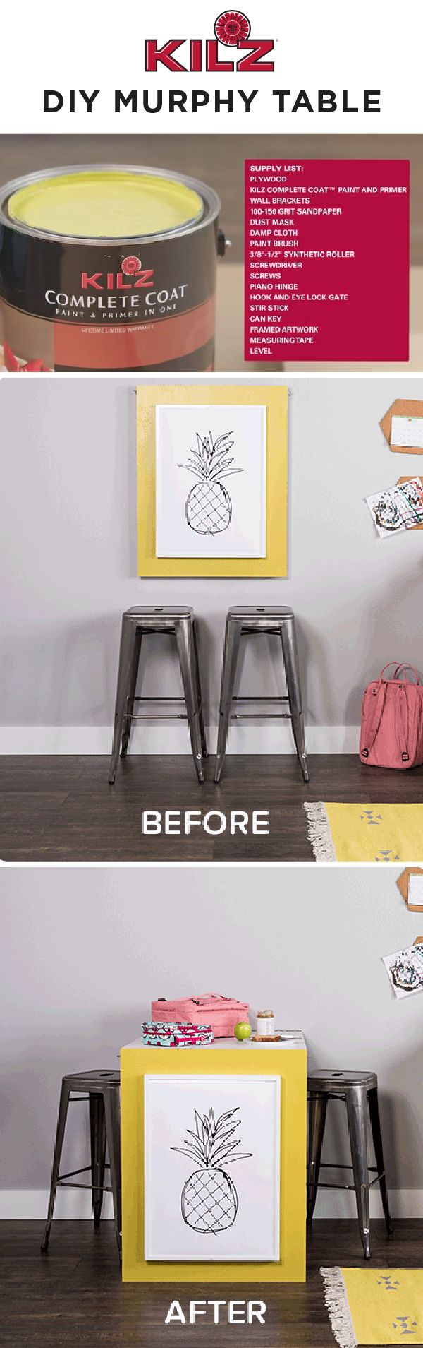 Want to add storage and functionality to your kitchen? Check out this DIY murphy table tutorial. This clever hack is a space-saving table and wall décor in one. Plus, thanks to a fresh coat of KILZ Complete Coat Paint & Primer In One, you can add a pop of bright color to your home. Click to learn more and buy your project supplies.