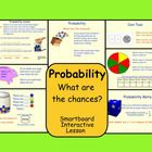 This is a Smartboard Interactive Whiteboard file.  There are 7 pages in this file.  Students have an opportunity to work through different probabil...