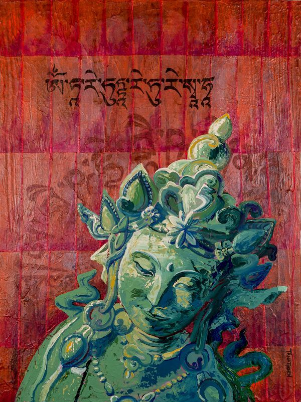 Green Tara Painting with OM Tara Tuttare Ture Soha Mantra by Amy Tanathorn. 18x24 acrylic, india ink and tea papers on gallery wrapped canvas. AmyTanathorn.com