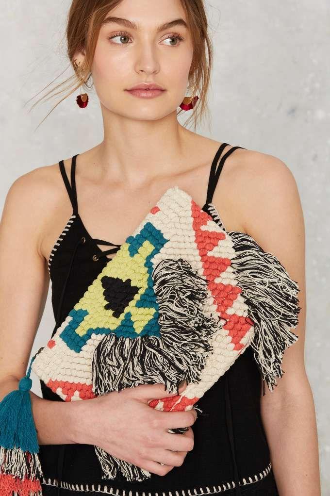 Cleobella Domino Woven Clutch - Bags + Backpacks