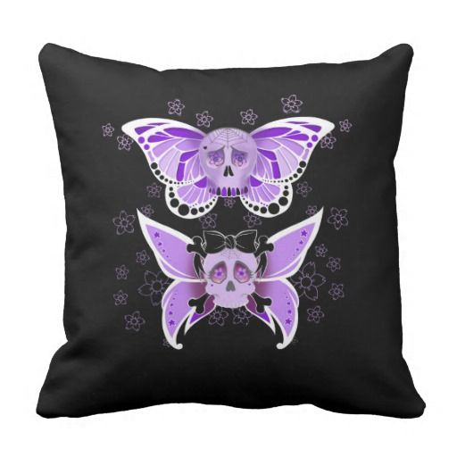 #Purple #SugarSkulls #ThrowPillow #Skulls cushion.  Designed by Mannzie, artwork by Toni Lee from http://www.tearingcookie.com/ Sold on Zazzle.