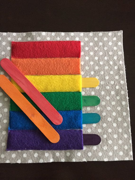 Colorful Popsicle Sticks Quiet Book Page by HannasQuietBooks
