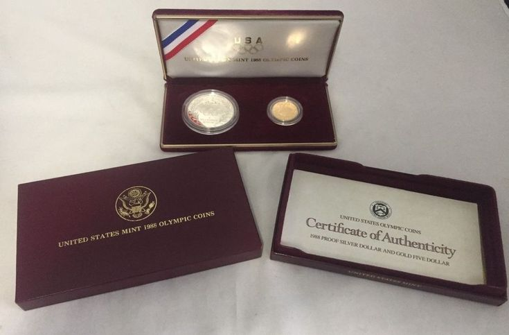 1988 Olympic 2 Coin Commemorative Proof Set, $5 Gold and $1 Silver