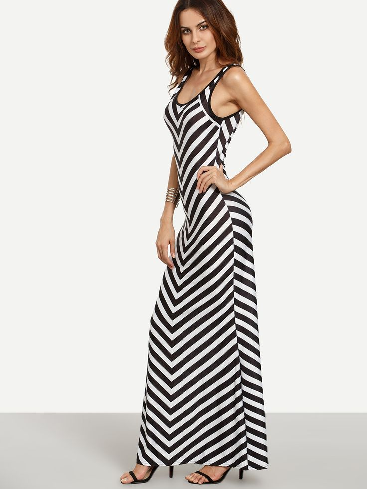 Shop Black White Chevron Print Maxi Tank Dress online. SheIn offers Black White…
