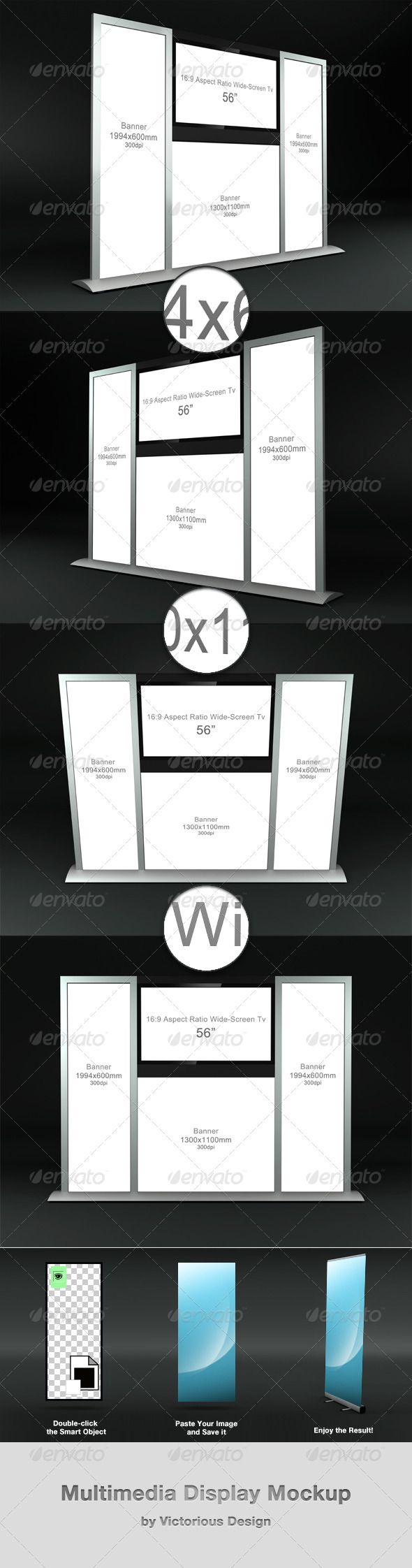 "Multimedia Display Mockup  #GraphicRiver         Multimedia Display Mockup is a great addition to any mockup collection.  	 It's easy to use and saves your time.  	 This package includes:  	 - 4 psd files with 4 different angles (5000×3800px)  	 - instructions  	 Active areas:  	 - Banner 1944×600mm (x2)  	 - Banner 1300×1100mm  	 - TV 56""  	 - Background is an integral part of the scene.     Created: 31August12 GraphicsFilesIncluded: PhotoshopPSD Layered: Yes MinimumAdobeCSVersion: CS5…"
