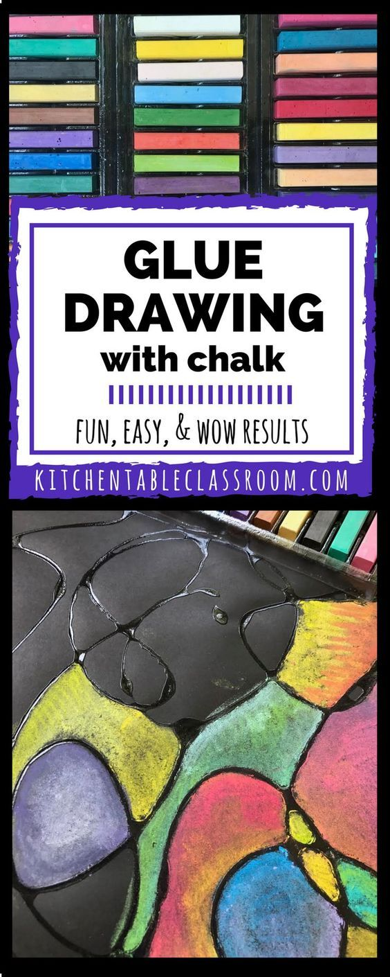 Glue and chalk drawing