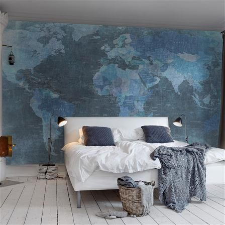 World Map Wallpaper Mural 405x270cm, Blue