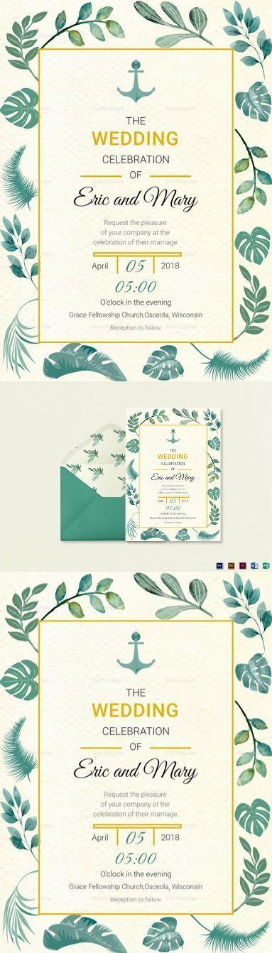 Nautical Wedding Invitation Card Template $15 Formats Included :Illustrator, InDesign, MS Word, Photoshop, Publisher File Size :5x7 Inchs #weddinginvitationwording