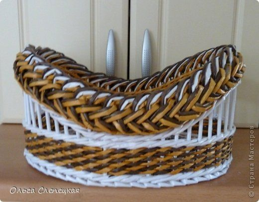 Поделка изделие Плетение Моя ГОРДОСТЬ  Третья КОРЗИНКА  из этой серии загибок коса   Трубочки бумажные фото 1