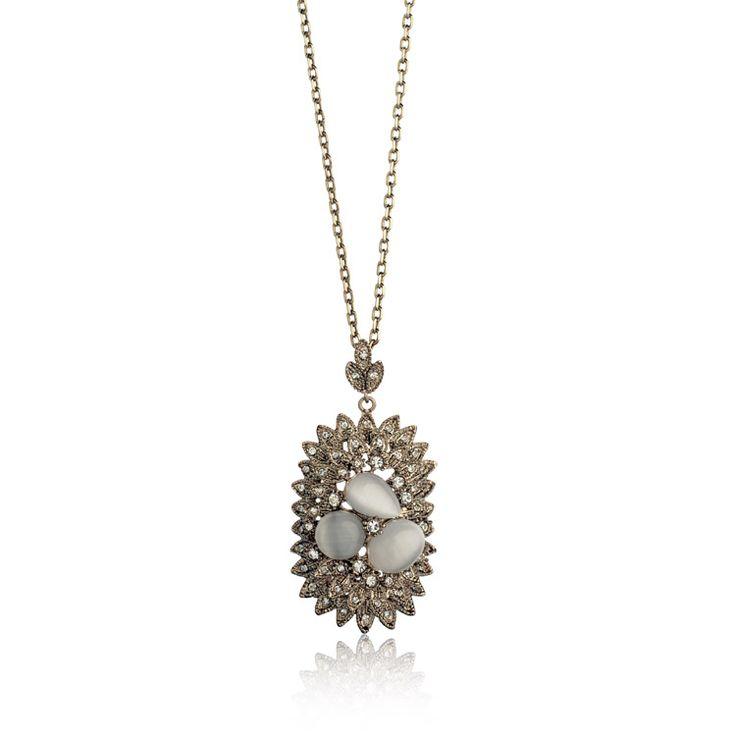 Мода ювелирные изделия 18 К кофе золото ожерелья с опалами, пятно оптовая продажа старинные драгоценные камни ожерелье