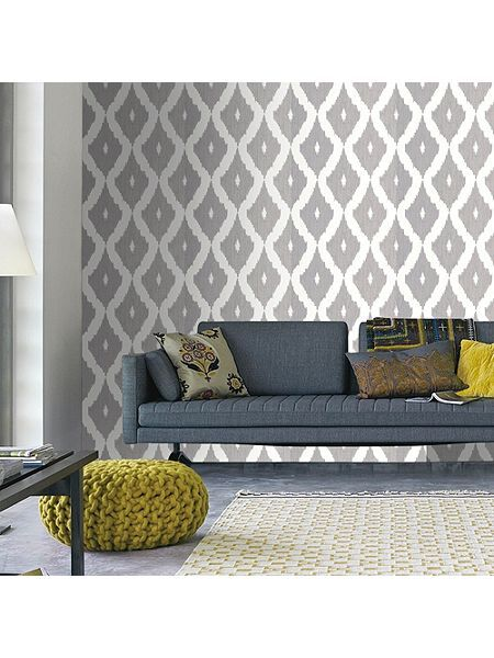 Soft Grey Kelly Hoppen Kelly`s Ikat Wallpaper