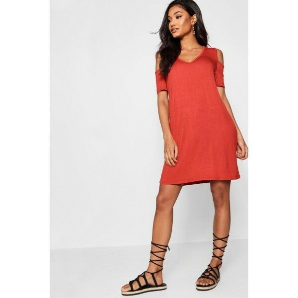 Boohoo Hannah Basic V Neck Cold Shoulder Swing Dress Size 16 Uk Bnwt Cinnamon Fashion Clothing Shoes Accessories Womensclothing Dresse Size 16 Dresses Dresses Swing Dress