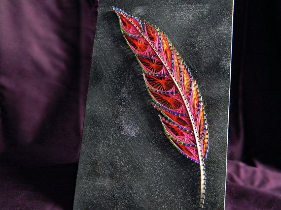 String & Nail Art 'The Enchanted Feather'. Wall Art on Wood Home Decor. Colorful and glittery unique embroidery nature art, ready to hang