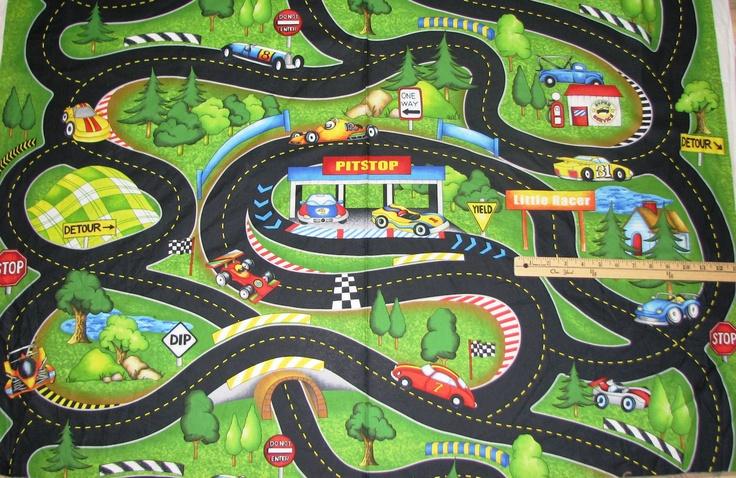 Race Track Fabric : Hot rods ride again race car road map fabric yard cars