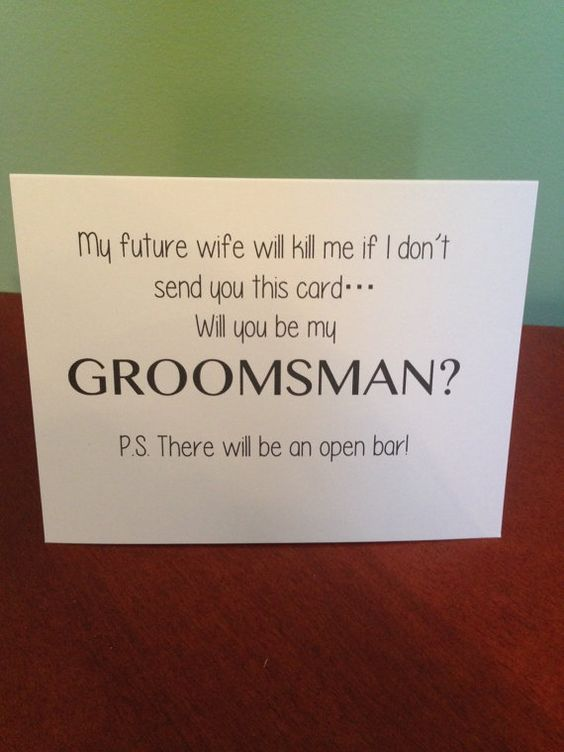 Funny Will You Be My Groomsman Card for guys that don't want to ask their groomsmen themselves! www.etsy.com/shop/BlingSparklesOhMy