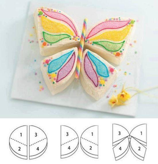 Корж для торта в виде бабочки