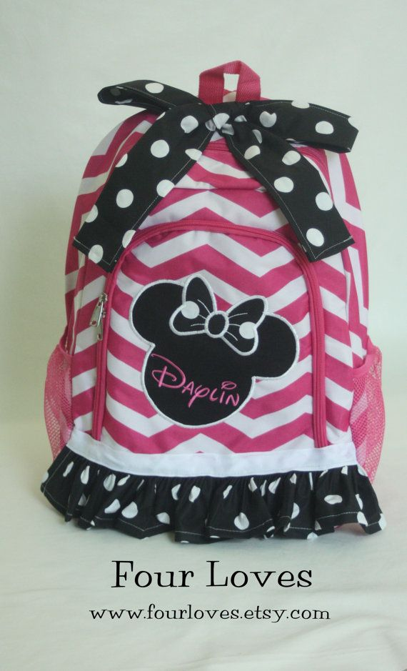 Girl's Minnie Mouse Backpack Full Size by FourLoves on Etsy