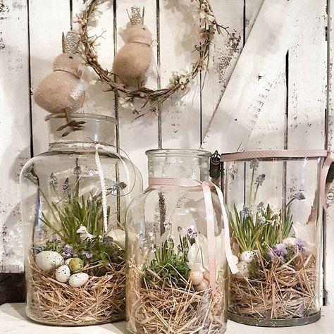 Glasvase Rustic Decor mit Moos und Eiern – #decor #eggs #Glass #jar #moss #Rustic