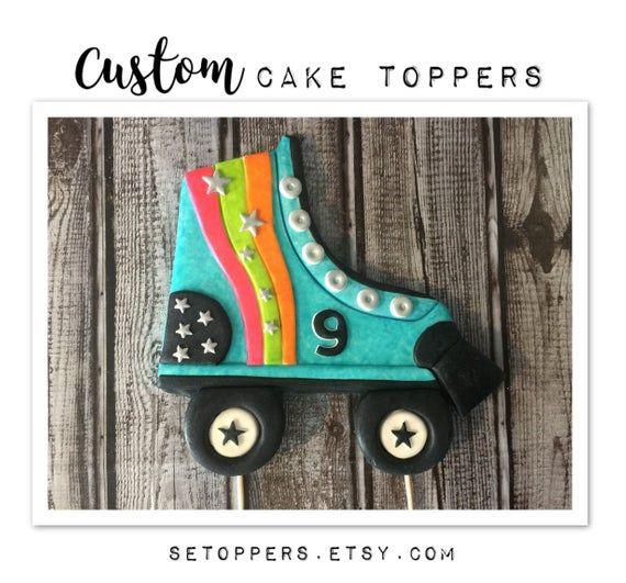 Roller Skating Cake Fondant Cake Topper Roller Skate Party Etsy Roller Skate Cake Custom Cake Toppers Custom Topper
