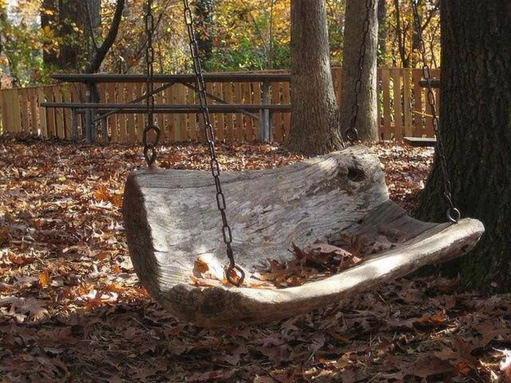 Interesting & Creative Designs: Reusing fallen tree trunk and turning into  a beautiful swing. Where's my tree?