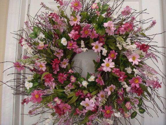 Spring wreath summer wreath summer door by designsdivinebyjb
