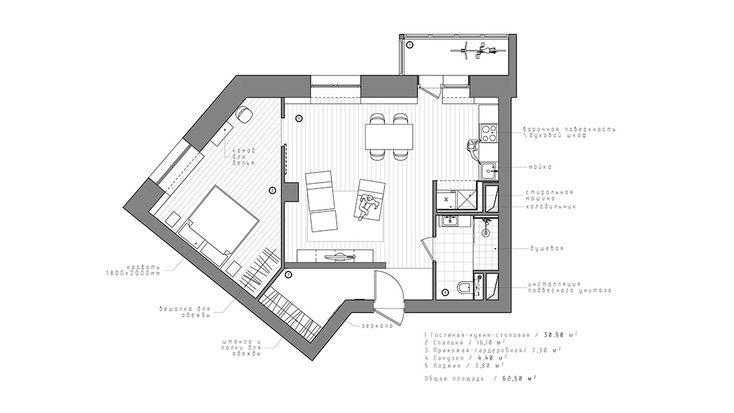 Планировочно пространство квартиры поделено на гостиную с кухней-столовой, прихожую, спальню, санузел и балкон. Прихожую с просторной гардеробной от гостиной отделяет перегородка-буфер из полнотелых и вентиляционных керамзитобетонных блоков, пропускающих естественный свет.