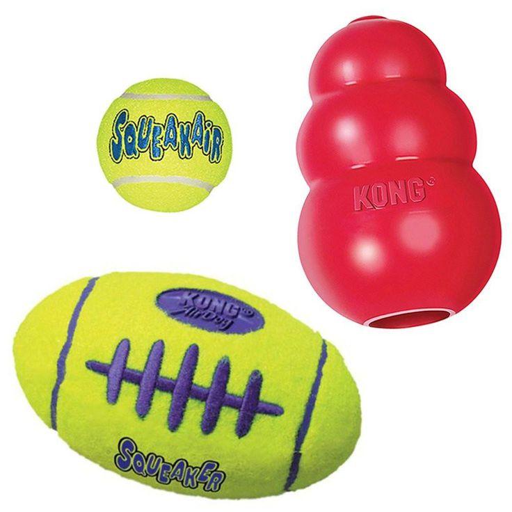 Kong Squeak Dog Toys Variety Pack (Large) - Kong Squeak Air Dog Football Kong Classic Red Dog Toy and Air Dog Squeakair Tennis Ball (3 Pack Bundle)