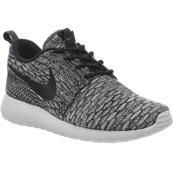 NIKE Roshe Flyknit trainers ($150) ❤ liked on Polyvore featuring shoes, sneakers, nike, cool grey black, lacing sneakers, nike trainers, gray shoes, laced shoes and kohl shoes
