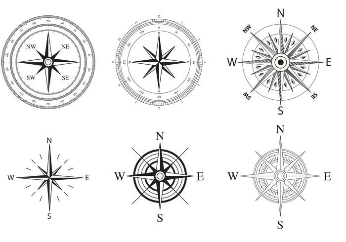 Wind and Nautical Compass Rose Vectors - Download Free Vector Art ...