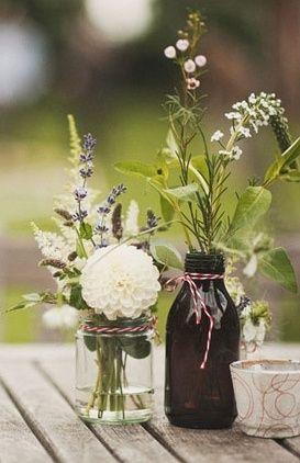 flowers, centerpieces, floral, decor, dahlia, green, lavender, rustic, white, details, Mason Jars, 1920s, art deco, Summer, vintage , London , England (Beer Bottle Centerpieces)