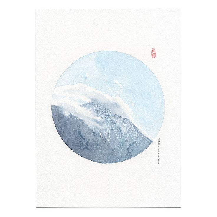 watercolor painting, circle art, mountain art, iceberg painting, watercolor wall art, Canadian landscape painting,Travel Canada