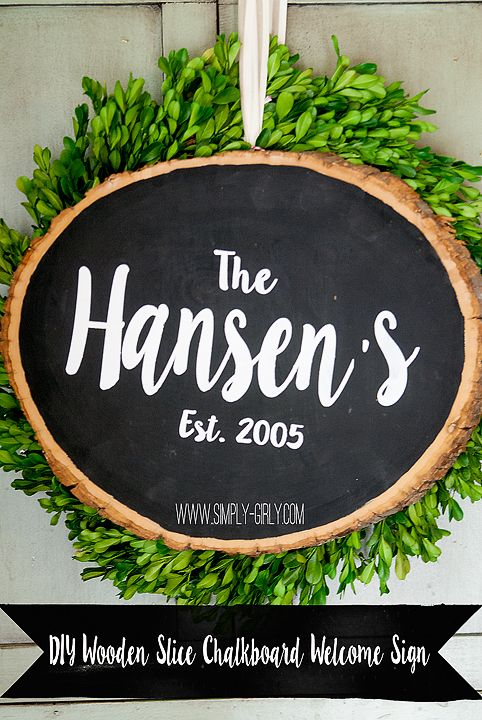 DIY Wooden Slice Chalkboard Sign!! So cute with easy to follow directions!