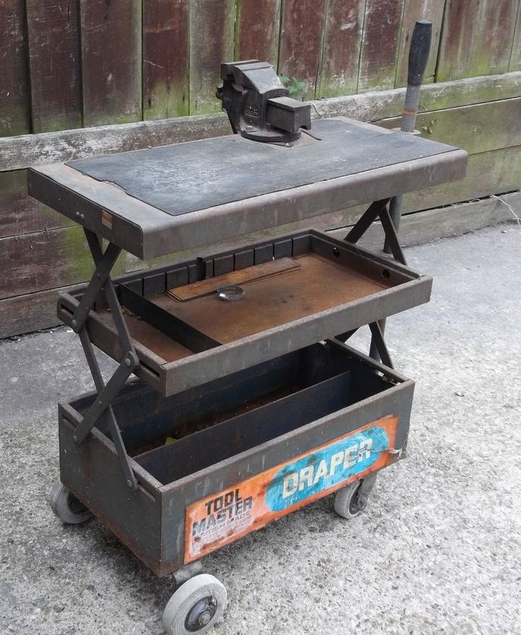 Old Vintage Draper Tool Box Trolley Work Bench With Vice