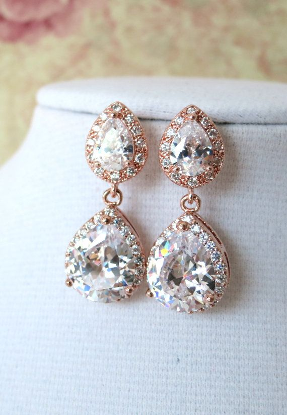 Rose Gold Teardrop Luxe Cubic Zirconia Teardrop Earring - gifts for her, earrings, bridal gifts, drop, dangle, pink gold weddings, www.colormemissy.com