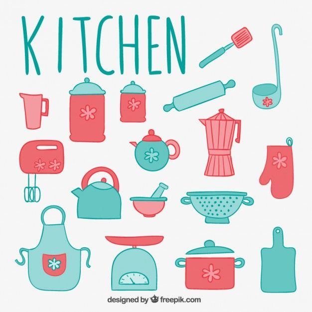 Free vector Cute kitchen elements #2078