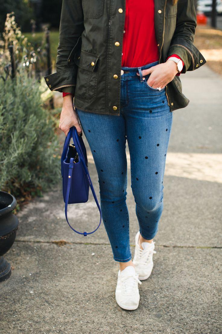 J.Crew Field Jacket * Polka Dot Jeans * Adidas Gazelles * Casual Winter Outfit Ideas * Sneaker Style