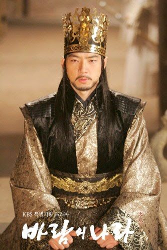 "Song Il Gook as the third King of Koguryeo, King Muhyul/Daemusin, in ""Kingdom of the Wind""."